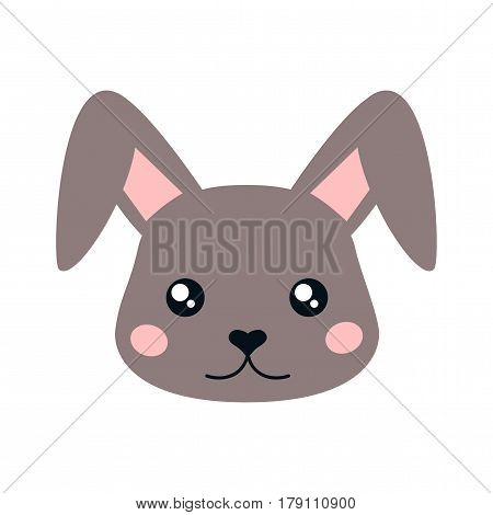 Cute vector hare face. Cartoon illustration on white background