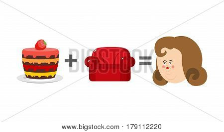 Cake Plus Sofa Is Equal To Obesity. Mathematics Of Adiposity. Formula Fat
