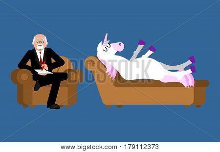 Unicorn with psychologist. Consultation of psychotherapist. animal