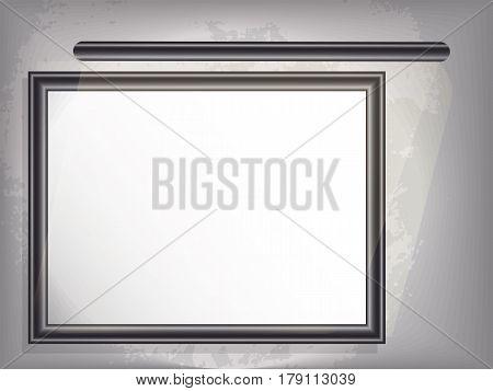 Mock up horizontal big framepicture with backlight. Grunge background. vector