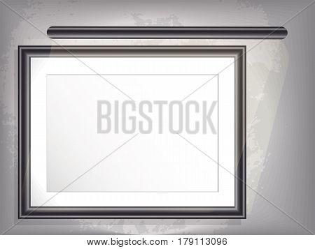 Mock up horizontal big framepicture with backlight. Grunge background. white border. vector