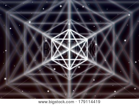 Magic hexagon symbol spreads the mystic energy in spiritual space