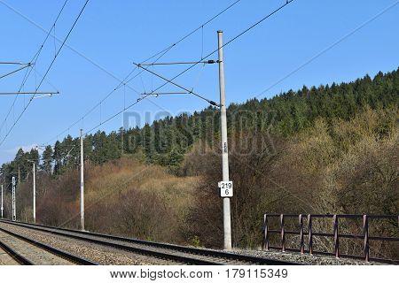 Traction power line rail corridor. Railroad tracks. Railways.