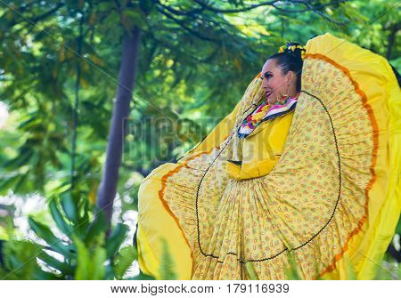 GUADALAJARA MEXICO - AUG 28 : Dancer Participates at the 23rd International Mariachi & Charros festival in Guadalajara Mexico on August 28 2016.