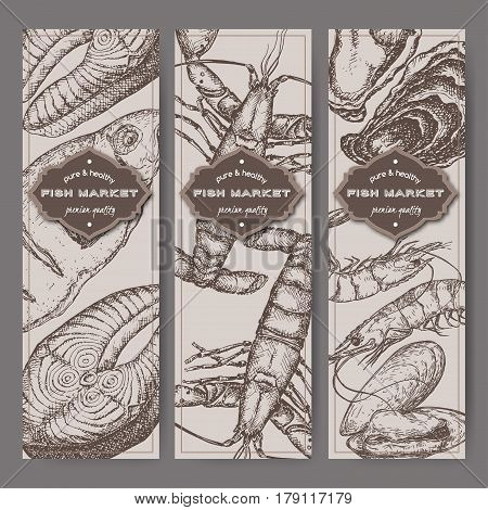 Three vertical fish market banners with grilled fish, lobster, seafood sketches. Great for markets, grocery stores, organic shops, food label design.