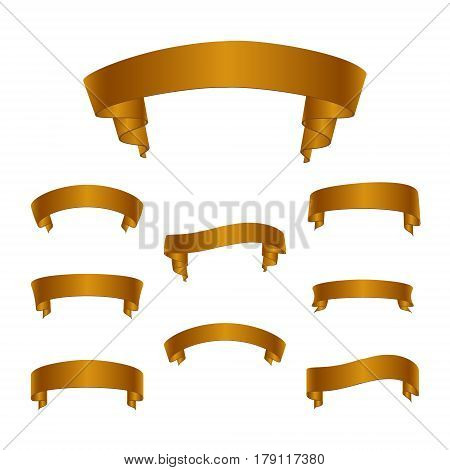 A set of 3D realistic glossy vector ribbons. Golden banners for holidays or advertising. Vector illustration.
