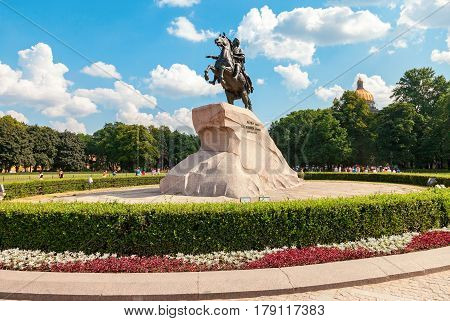 SAINT PETERSBURG RUSSIA - AUGUST 7 2016: The equestrian statue of Peter the Great (Bronze Horseman) in summer sunny day in St. Petersburg Russia
