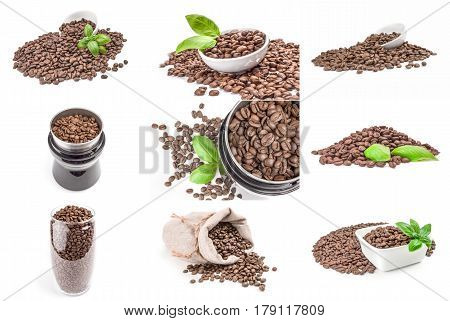 Collection of coffee beans on a white background clipping path