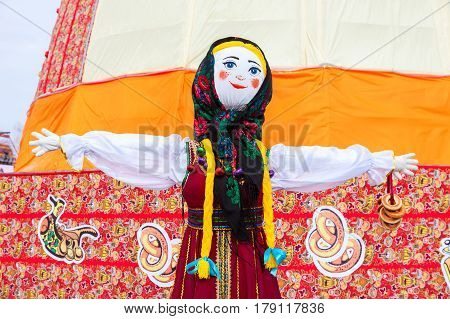 SAMARA RUSSIA - FEBRUARY 26 2017: Shrovetide in Russia. Big doll as the symbol of Maslenitsa during the folk carnival