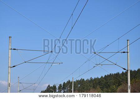 Two traction power line rail corridor. Railways.
