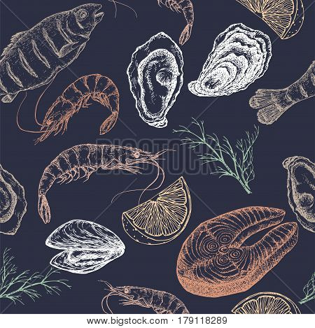 Hand drawn seafood vector seamless pattern with grilled fish, shrimps, oyster and mytilus, lemon and dill on blue background. Great for restaurants, cafes, grocery stores, kitchen, food label design.