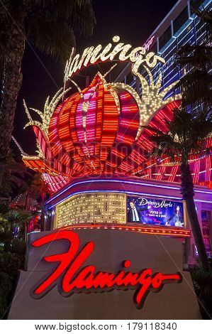 LAS VEGAS - NOV 24 : The Flamingo hotel and casino on November 24 2016 in Las Vegas. The hotel opened by Bugsy Segal on 1946 and it's the oldest resort on the Strip still in operation