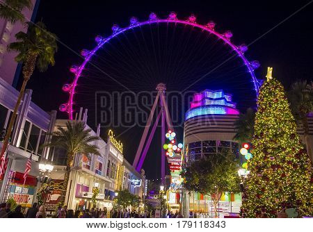 LAS VEGAS - NOV 24 : The Linq a dining and shopping district and High Roller at the center of the Las Vegas Strip on November 24 2016 The High Roller is the world's largest observation wheel