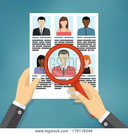 Illustration of searching for professional stuff, human resources management or analyzing personnel resume.
