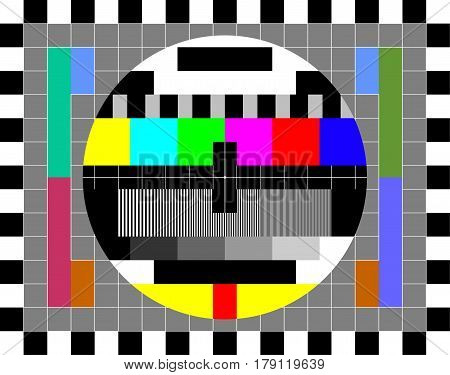TV test card with rainbow multi color bars, geometric signals. Retro hardware 1980s. Minimal pop art print is suitable for a textile, walls, floors