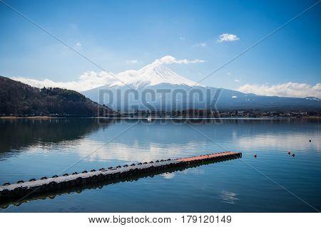 Mount Fuji with Lake Kawaguchiko and the peer