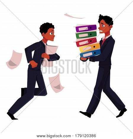 Black businessman, manager in stressful business situations, harrying, running, carrying documents, cartoon vector illustration isolated on white background. Black distressed, anxious businessman