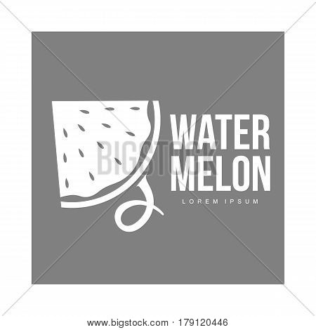 monochrome logo template with side view of stylized triangular watermelon slice, vector illustration isolated on grey background. Watermelon logotype, logo design with watermelon slice