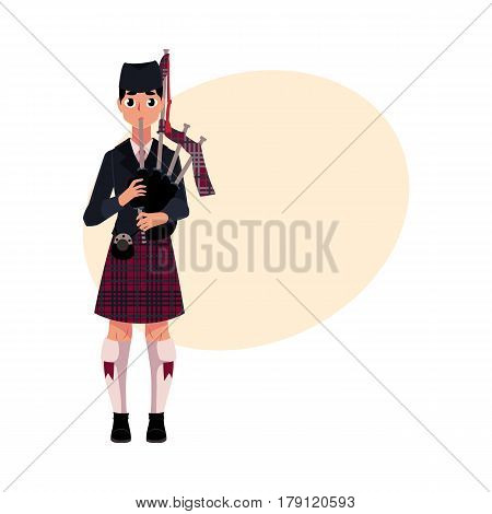 Scottish male bagpiper, piper in national clothes, tartan beret and kilt, cartoon vector illustration with place for text. Full length portrait of Scottish bagpiper in tartan, plaid and kilt