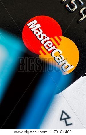 Benon, France - Feb 08, 2017: Credit Cards On The Keyboard,close Up Photo