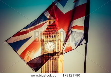 brexit concept - Union Jack flag and iconic Big Ben in the background - UK leavs the EU