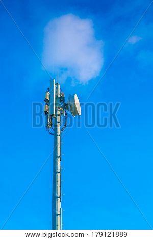 Telecommunication tower with beautiful sky