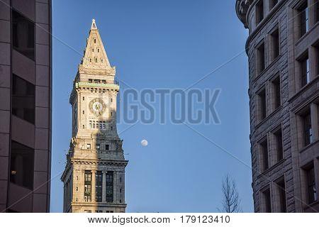 Boston Skyline and Custom House Tower Boston Massachusetts