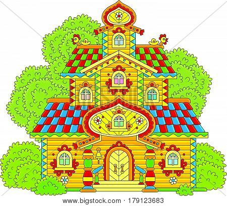 Old colorfully decorated wooden tower from fairy tale