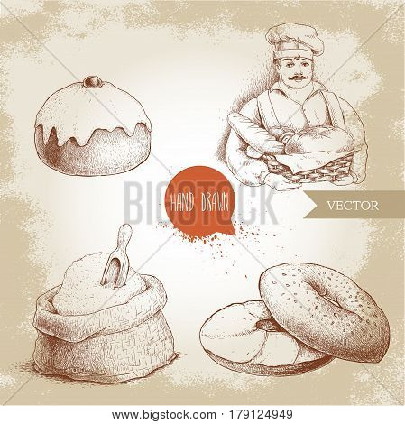 Hand drawn set bakery illustrations. Baker with baker basket of fresh bread sesame bagel with cream cheese iced sweet bun with cherry and sack with whole flour with wooden scoop.