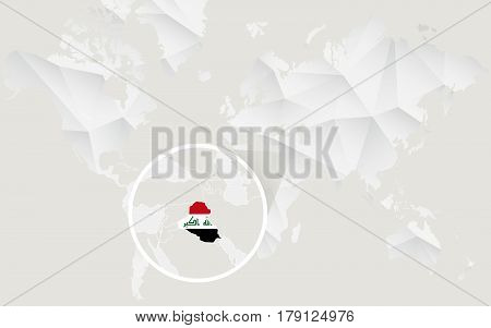 Iraq Map With Flag In Contour On White Polygonal World Map.