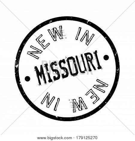 New In Missouri rubber stamp. Grunge design with dust scratches. Effects can be easily removed for a clean, crisp look. Color is easily changed.