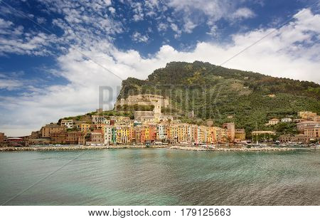 Portovenere Liguria italy. Panorama from Island of Palmaria Island