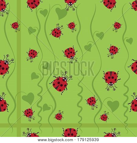 Ladybug among the greenery. Stylized images of ladybugs and convolvulus, the character of children's cartoons. Design for textiles, tapestries, packaging, environmental background of the poster.