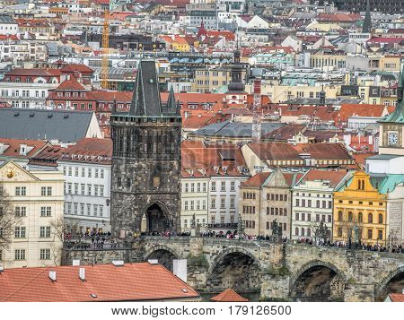 PRAGUE, CZECH REPUBLIC - MARCH 8 2017: Charles Bridge against the Old Town in the background, Prague, Czech Republic