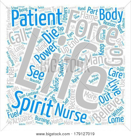 This I Believe as to How and Why Some Patients Refuse to Die Word Cloud Concept Text Background