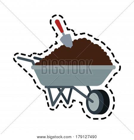 soil or dirt in wheelbarrow icon image vector illustration design