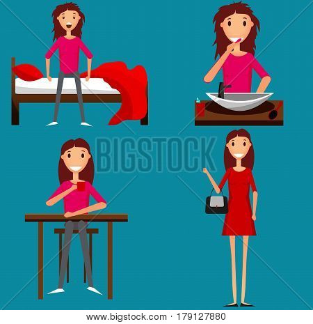 Young girl getting ready in the morning. Flat style illustration. Vector.