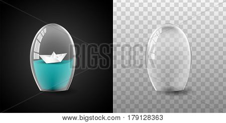 Glass dome, boat and water vector in black background, Glass dome vector illustration isolated and transparent