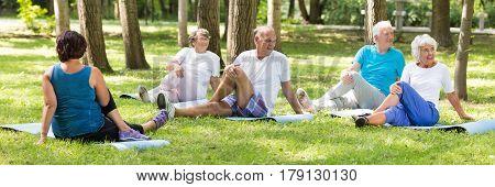 Senior People Training In The Park