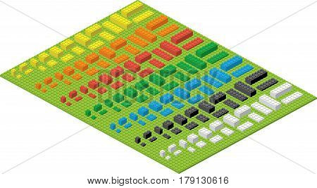 Children brick toy simple colorful bricks on green pad