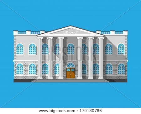 Library building. Book house isolated on blue. Construction with columns in ancient design. Vector illustration in flat style