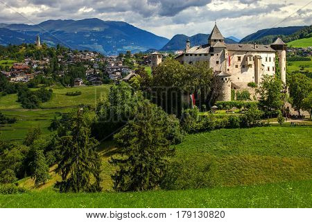 Amazing medieval castle of Presule in Dolomites mountains Northern Italy