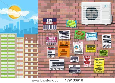 Various tear off papers ad on on brick wall. Advertisement and announcement in big city. Cityscape. Sell, rent, missing human, credit, work, money. Vector illustration in flat style