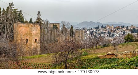 Panoramic view of Alhambra wall and Granada Spain