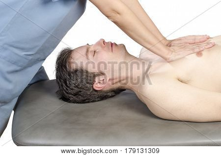 Physiotherapist Is Doing A Lungs Viscero Fascia.