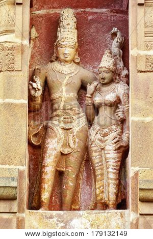 Lord Shiva and Goddess Parvati together at Brahadeeshwara temple captured at Tanjore, India on January 28th, 2017