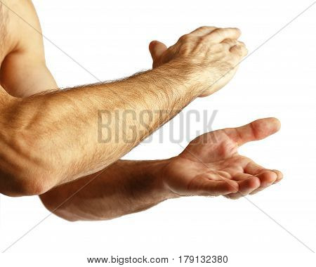 Hands of a man On a white background