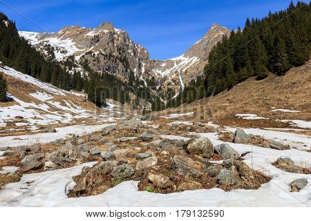 mountain landscape in winter. The Fagaras Mountains Romania