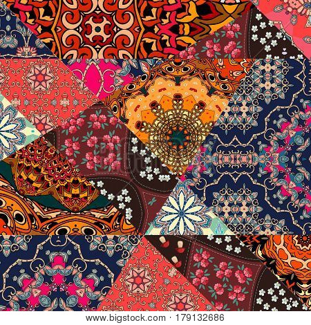 Festive patchwork pattern in indian style with flower - mandala. Bright vector illustration. Hippie design. Blanket, wrapping, print for fabric.
