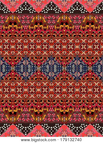 Ethnic striped ornamental pattern in warm tones. Beautiful vector illustration. Print for fabric.